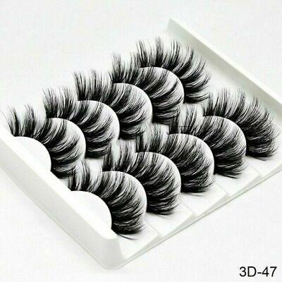 5 Pair 3D Mink False Eyelashes Wispy Cross Long Thick Soft Fake Eye Lashes UK 6