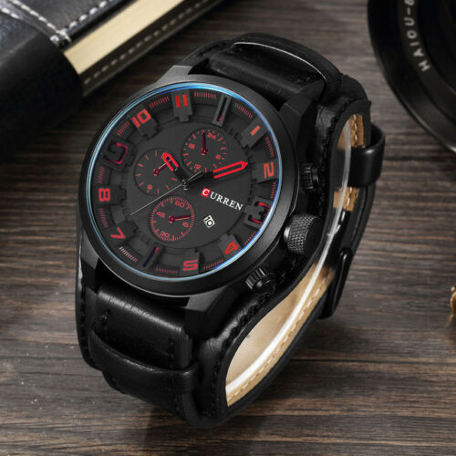 Curren Army Military Quartz Mens Watches Leather Boys Watch Casual Sport Watch 4