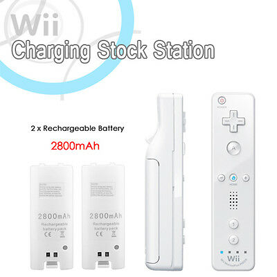 Dual Nintendo Wii Remote Charger Charging Dock Station + 2 Rechargeable Battery