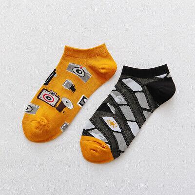 Mens Cotton Ankle Socks Novelty Animal Fruit Funny Asymmetric Unisex Dress Socks 7