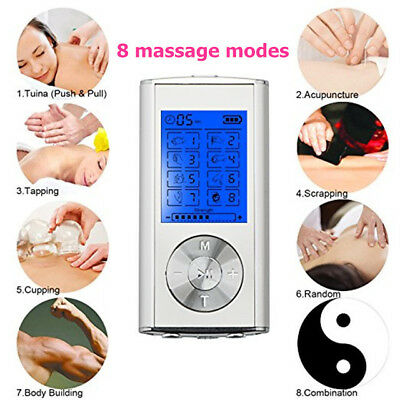 Dual Channel TENS Machine Unit Body Pain Relief Massager Device +8 Pads Physio 6