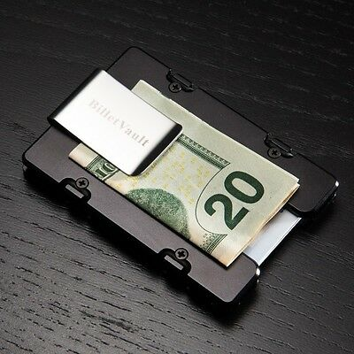Black Fish Or Die Aluminum Wallet//Credit Card Holder RFID Protection
