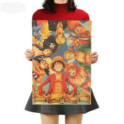 Classic Anime One Piece Series Posters Kraft Paper Cafe Decorative Wall Painting 2