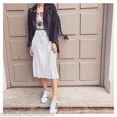 0b22e6f2c7 ... Zara Silver Pleated Floral Print Midi Dress Size S,M,L New 2016 Ref