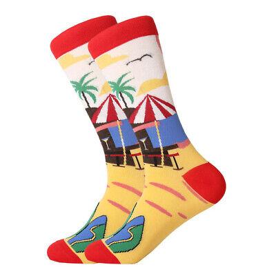 Mens Cotton Socks Novelty Animal Fruit Colorful Funny Casual Dress Wedding Socks 10