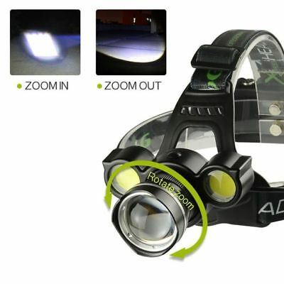 Linterna Frontal Recargable de cabeza luz LED 8000LM T6 2X COB ZOOM Impermeable 3