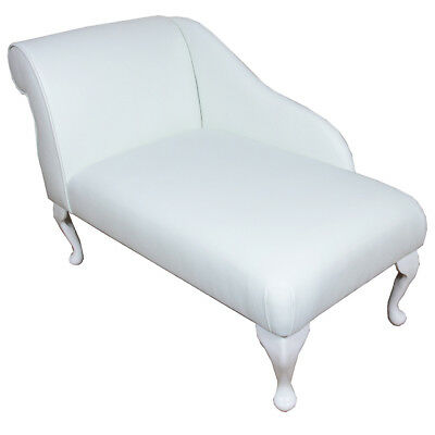 """41"""" Small Chaise Longue Lounge Sofa Seat Chair White Faux Leather with Bolster 2"""