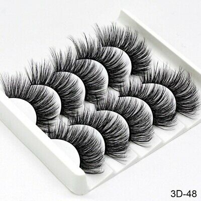 5Pair 3D Mink False Eyelashes Wispy Cross Long Thick Soft Fake Eye Lashes  UK 8