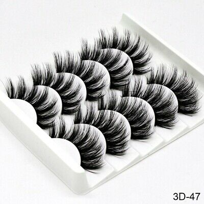 5Pair 3D Mink False Eyelashes Wispy Cross Long Thick Soft Fake Eye Lashes  UK 5