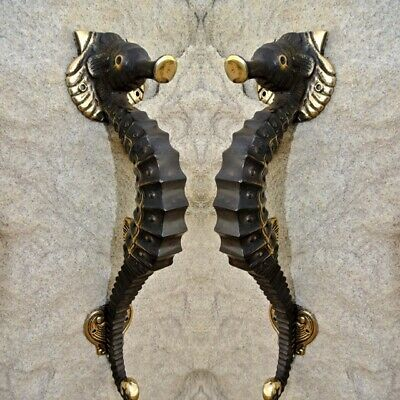 """2 small SEAHORSE solid brass door AGED old style house PULL handle 10"""" pair B 2"""