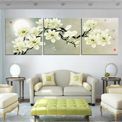 Magnolia Flowers 3 Panel Canvas Wall Art Modular Decorative  Brand New 3