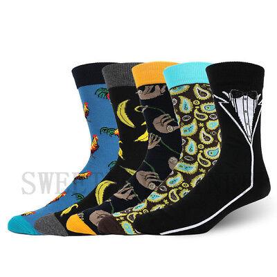 Mens Combed Cotton Socks Funny Animal Fruit Novelty Dress Sock For Wedding Gifts 6