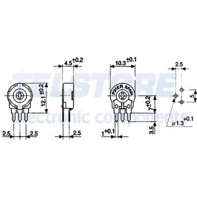 2pcs PT10LH-50K Trimmer mono giro verticale 50k ohm 150mW ±20/% PIHER