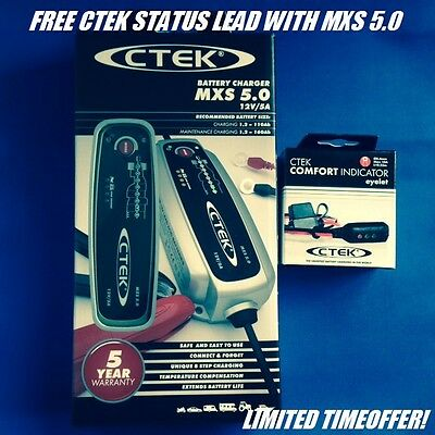 CTEK Multi MXS 5.0 12V Battery Charger  WITH   CTEK  TRAFFIC STATUS LEAD OFFER!!