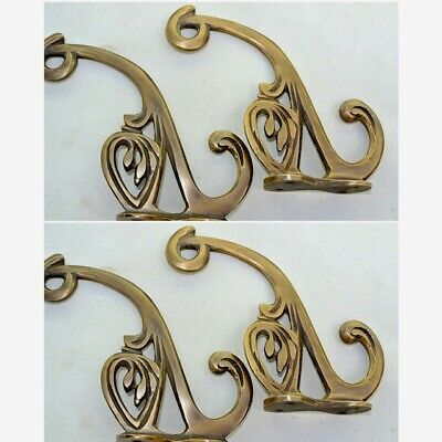 """4 old ook COAT HOOKS FLOWER door solid brass furniture age old style 4"""" B 11"""