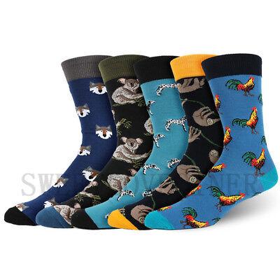 Mens Combed Cotton Socks Funny Animal Fruit Novelty Dress Sock For Wedding Gifts 7