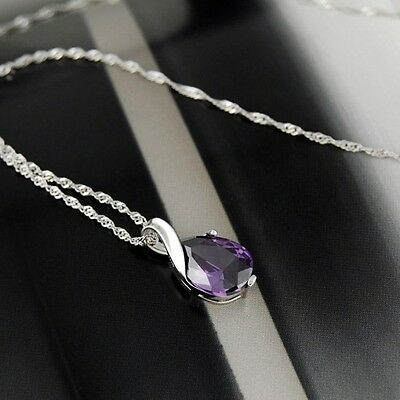 Amethyst Pendant Gemstone Natural Crystal on Water Wave 925 Silver Necklace 2