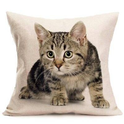 1 of 4FREE Shipping Cute Animal Cat Linen Pillow Covers Sofa Pillow Case Car Seat Cushion Cover 18""