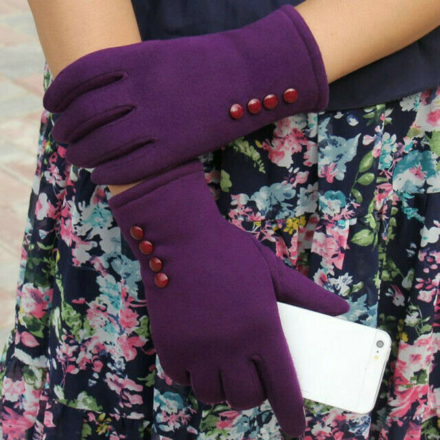 Women Winter Outdoor Warm Touch Screen Gloves Solid Full Finger Mittens Newly 2