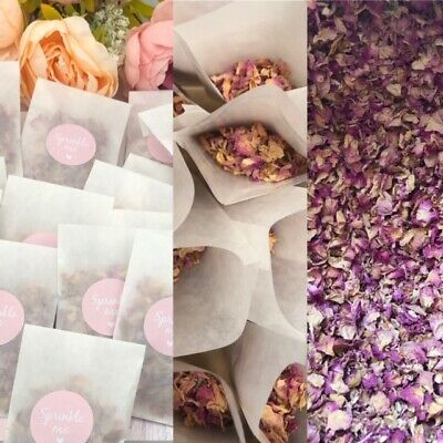 Biodégradable Confettis Mariage Sacs paquets or Rose Rose Blanc Pastel Glassine