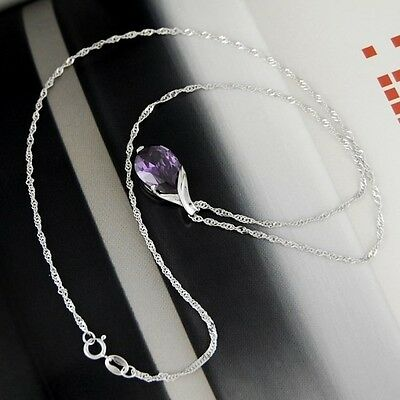 Amethyst Pendant Gemstone Natural Crystal on Water Wave 925 Silver Necklace 4