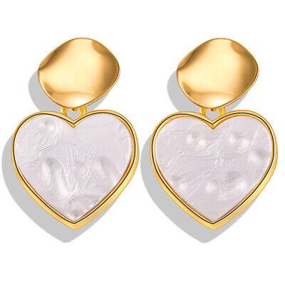 Women Metal Simple Geometric Circular Marble Drop Long Earrings Vintage Ear Stud 6