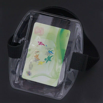 Vertical Armband Security ID Card Photo Badge Holder Clear + Black Elastic Strap 3