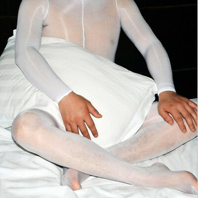 Herren Nylon Glanzstrumpfhose Overall Bodystocking Catsuit Penishülle Bodysuit 8