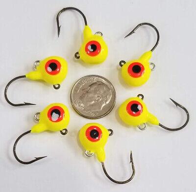 6 Walleye Fire Ball Jigs 1//4 oz Erie Dearie Short Shank GLOW ✨ in Dark Fish Lure