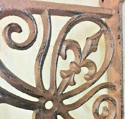 Fleur De Lis Plant Hanger, brown bronze finish, flower basket pot lantern hook 4