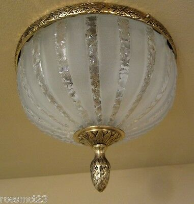 Vintage Lighting circa 1950 Hollywood Regency cracked ice foyer More Available 2