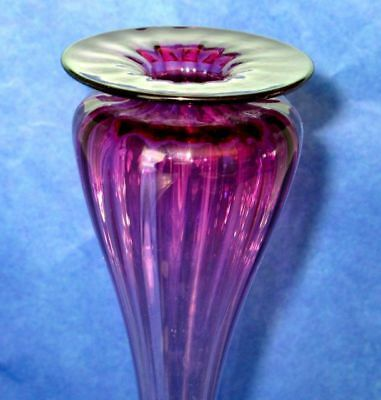 "YOUNG & CONSTANTIN  Amethyst Art Glass Exquisite Tall 13.5"" Hand Blown Vase 2"