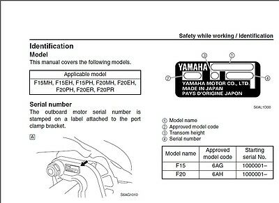 Yamaha F15 F20 4-Stroke Outboard Motors Service Manual CD