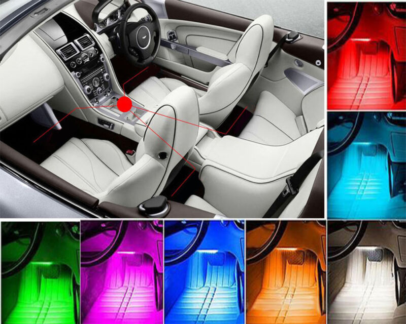 4Pcs 9LED Car Interior Floor Atmosphere Light Strip Remote Control Colorful NEW