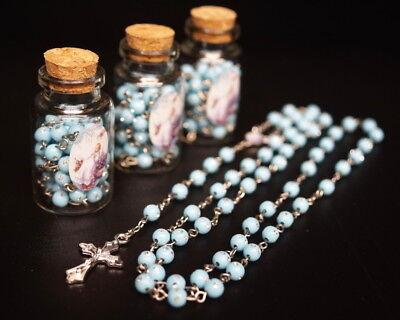 12 PC Blue Glass Bottle Rosary Baptism Favors Boy Recuerdos Bautizo Rosario