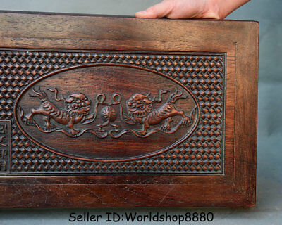 "15.8"" Antique Chinese Dynasty Palace Huanghuali Wood Carved Lion Dog Table Desk 3"