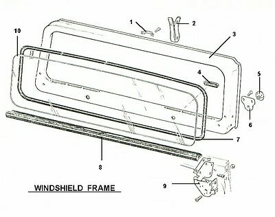 NEW WINDSHIELD GLASS, Frame & Seal Kit, Jeep Wrangler Yj 1987-1995 ...