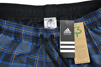 adidas Herren Badeshort check short-length Badehose grau schwarz blau DY6400