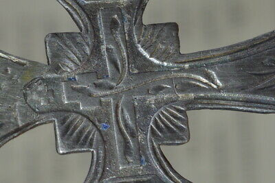 ANTIQUE 19th CENTURY RUSSIAN CROSS ! Enamel SILVER 84 Orthodox Icon CRUCIFIX vtg 11