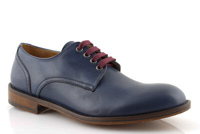 huge selection of 9babe 6d256 SCARPE DERBY UOMO shoes pelle blu cuoio scarpe eleganti classiche made in  italy
