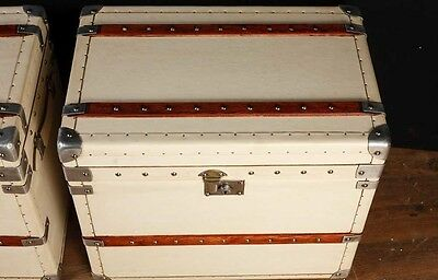 Pair White Leather English Luggage Trunks Boxes Side Tables 7