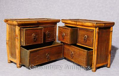 Pair Chinese Antique Bamboo Chest Drawers Mini Travelling Samples 1880 4
