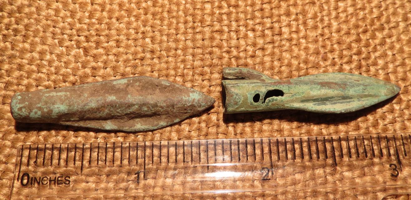 Scythian- Sarmatia Bronze 2 pcs.Old Original Ancient Barbed Arrowhea 7-4 BC #10