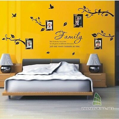 WALL STICKERS FAMILY Tree Photo Frame Quotes Art Murals Decals Vinyl ...