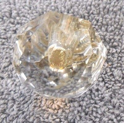 "4 Vintage Clear Glass Doorknobs with gold-tones hardware - 1¼"" diameter, height 3"