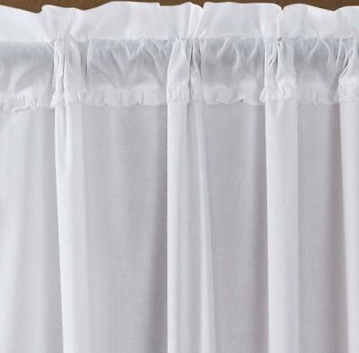 """84"""" Long White Sheer Ruffled Window Curtains Romantic Cottage Cotton 2 Panels 2"""