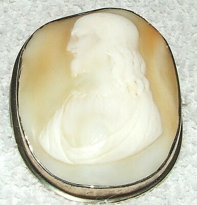 Antique 19th C. Victorian Hand Carved JESUS Shell Cameo 2
