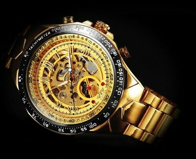 Luxury Automatic Mechanical Watch Men's Skeleton Gold Steel Stainless Wristwatch