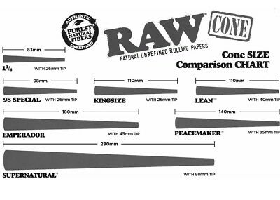 RAW classic 98 special Prerolled CONES w Tips. FULL BOX  (1000 cones)