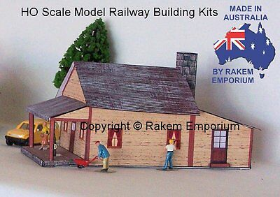 HO Scale House Cream with Veranda Model Building Kit, Details - REHVC